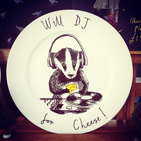 Badger DJ plate by Jim Bob Art