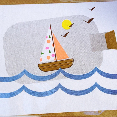 Boat in a bottle risograph print by scout editions