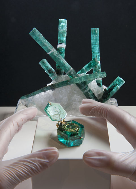 Medusa Emerald and hexagonal emerald watch
