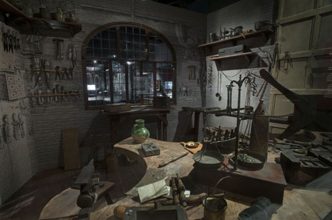 Recreation of a jeweller's workshop, Museum of London