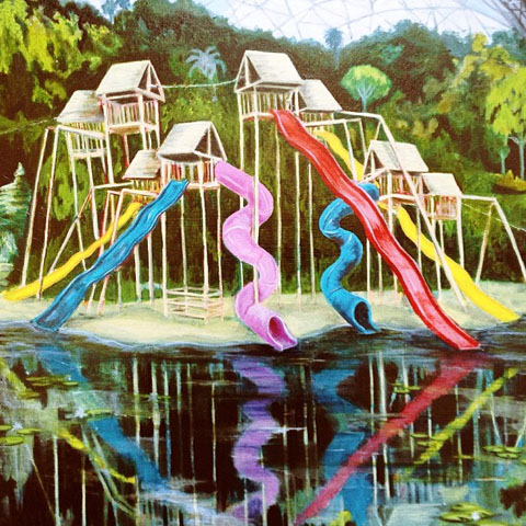 Dickon Drury; a mad Eden featuring houses on stilts & crazy colour slides.
