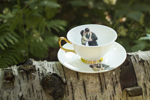 Melody Rose - Kissing Couple and saucer on log