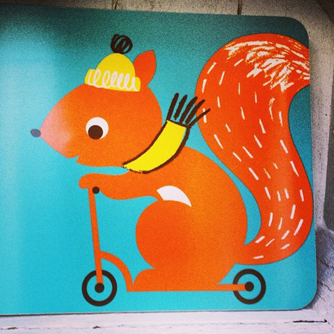 Squirrel melamine coaster by Ketchup on Everything