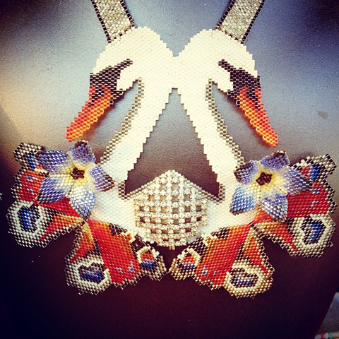 Stunning beaded swan flower statement necklace by Clara Francis