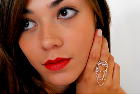 Annabelle Lucilla Jewellery Oriental Tasseled Hoop Ring in silver on model