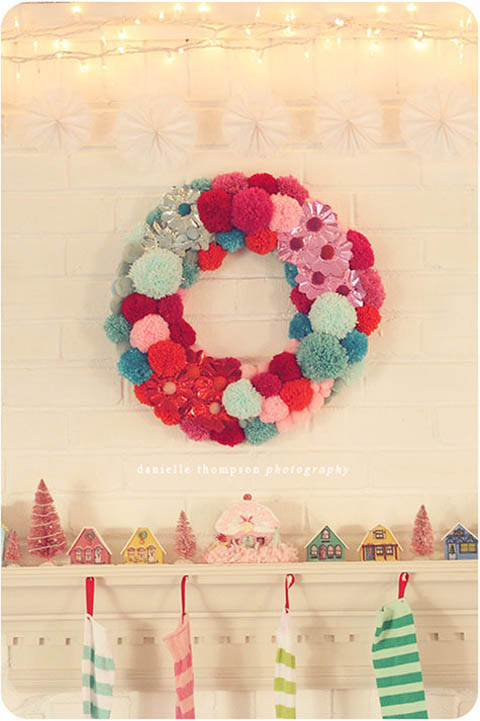 Christmas pompom wreath, photo by Danielle Thompson