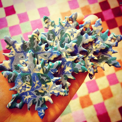 Christmas snowflake ornament polymer clay cane blue