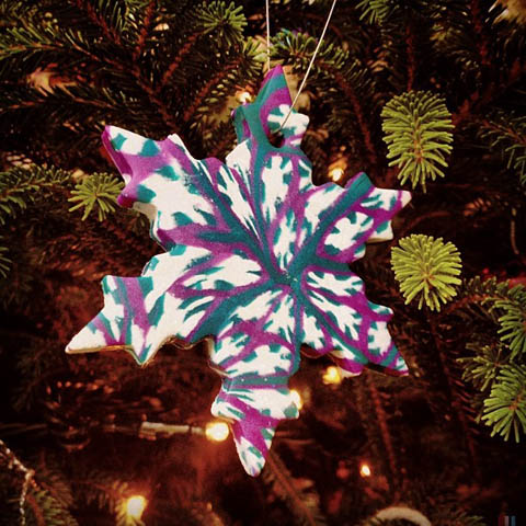 Christmas snowflake ornament polymer clay cane
