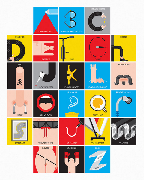 East End Alphabet by Pate at east end prints