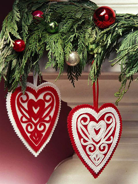 Felt heart cut out ornaments for Christmas
