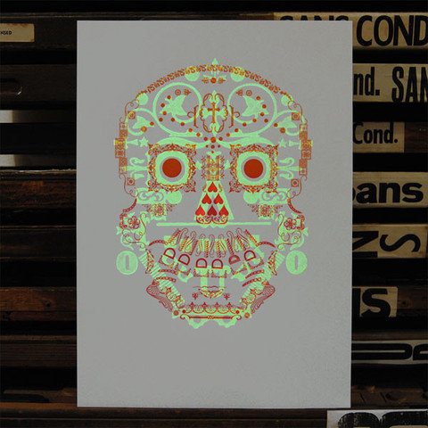 Glow in the Dark Day of The Dead Skull by Typoretum