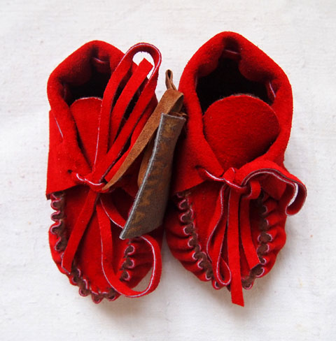 Lil Beans red baby fringe moccasin booties