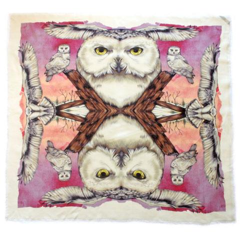 Nkoyo snowy owl silk scarf