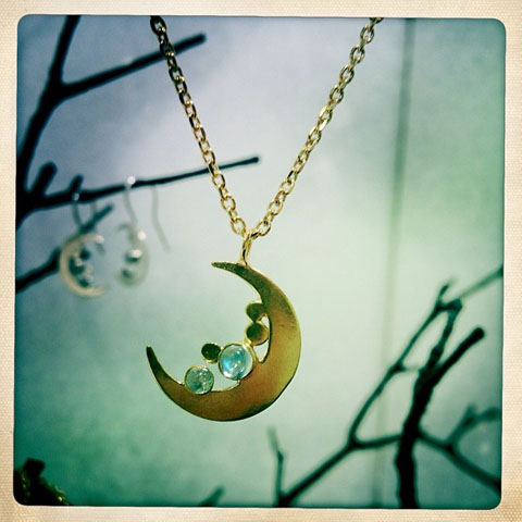 Phoebe Jewellery moonstone moon pendant