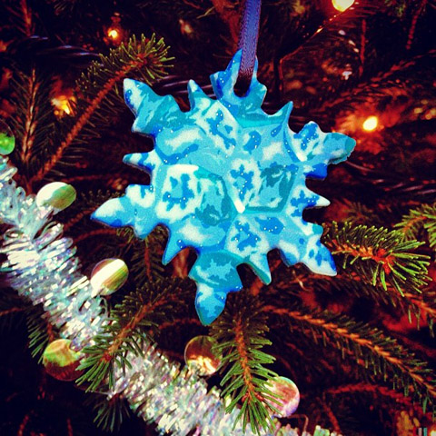 Polymer clay fimo christmas ornament snowflake millefiori