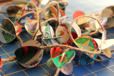 Recycled Christmas Card Garland by Freshy Hatched Studio