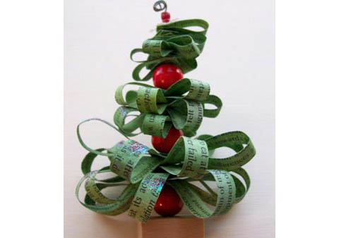 Recycled paper and bead christmas tree ornaments by Thrifty Fun