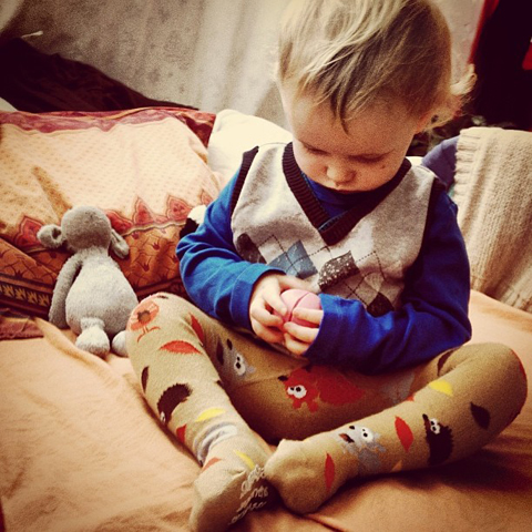 Slugs and Snails squirrel tights for boys