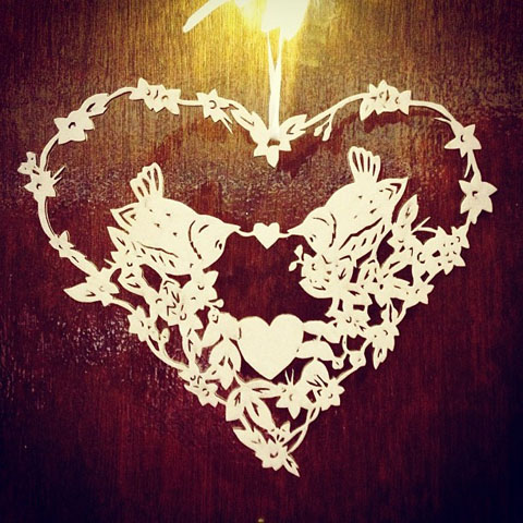 Tasha Brown lasercut heart with birds