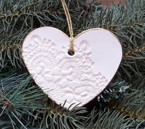 White clay embossed heart christmas tree ornament