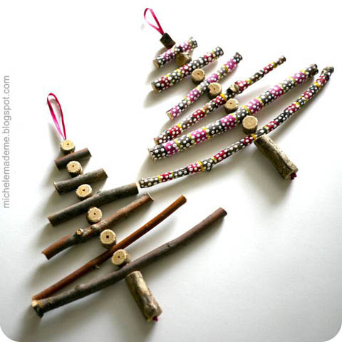 Wooden Stick Christmas Trees by Michele Made Me