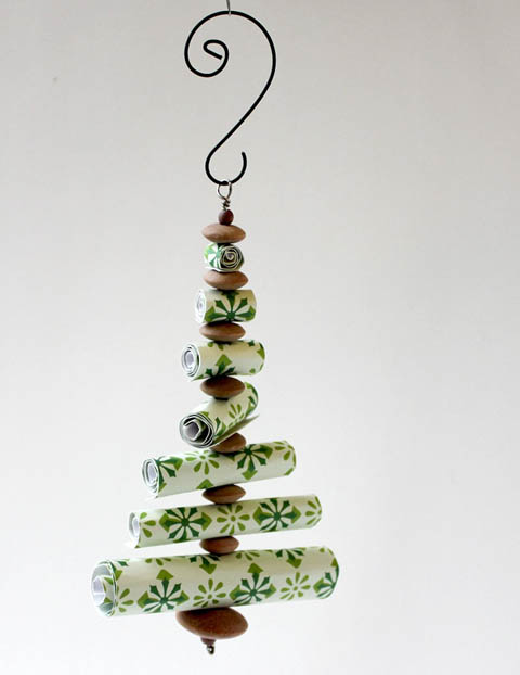 paper roll and bead Christmas tree shaped decoration by Crafts by Jen