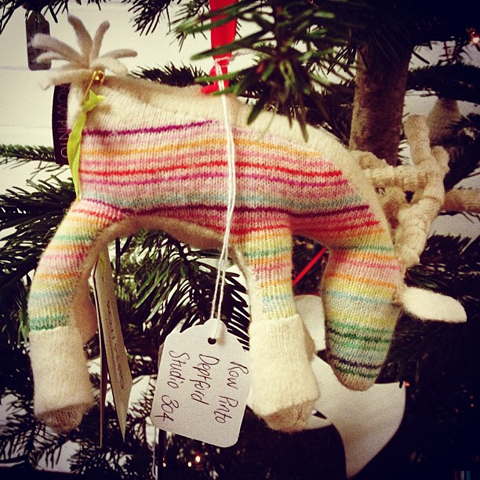 row pinto knitted reindeer