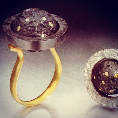 Susi Hines rotating gold rings