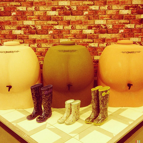 Water Butts and wellies by Hemingway