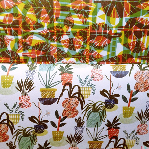 Wrap Magazine paper with leaves and pot plants