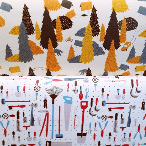 Wrap magazine trees and tools wrapping paper