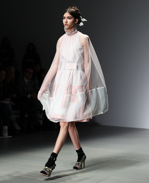 Bora Aksu AW 2014-white cape dress-photography by Amelia Gregory