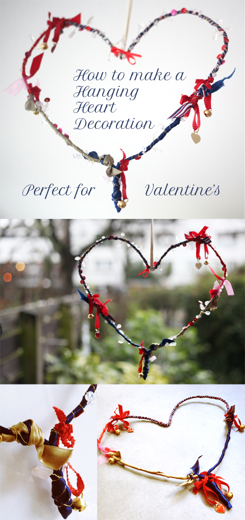 How to make a Valentine's Day hanging heart decoration mobile using a wire coat hanger, ribbon scraps, fine wire and beads or sequins