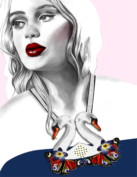Clara Francis Necklace by Rebecca May Ilustration