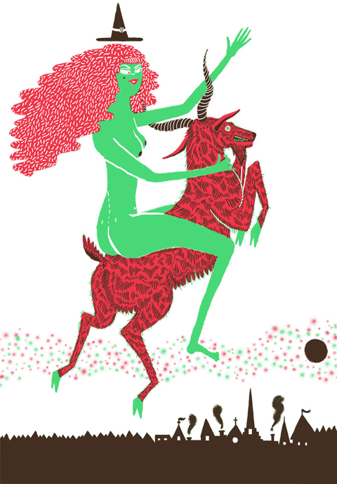 Llew Mejia, witch riding a goat