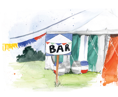 Bar tent, Wood Festival by Becca Corney