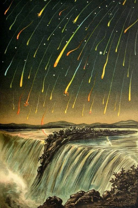 Leonid Meteor Shower over Niagara Falls, 1833