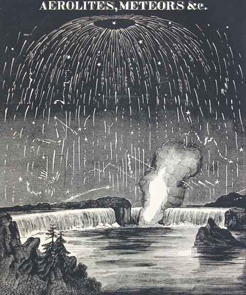 Meteorite shower engraving, 1848