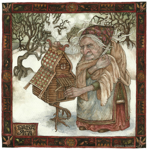 Hedgespoken-baba yaga - watercolour 2010 - by Rima Staines