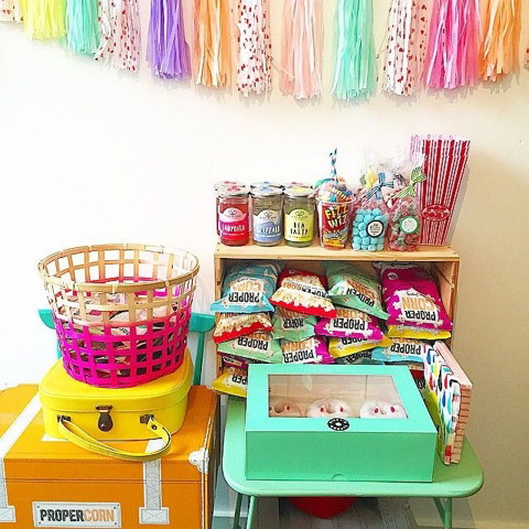 Folksy lucky dip snack station