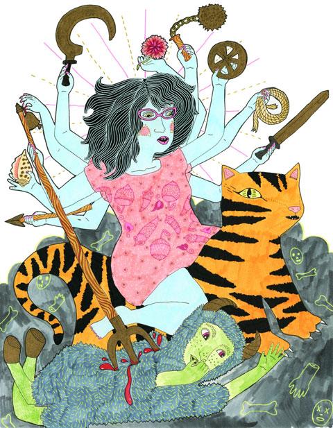 Durga-Slaying-the-Buffalo-Demon-Erika-rier