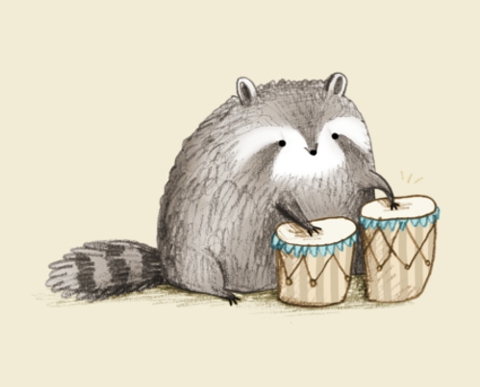 Sophie Corrigan - raccoon on bongos