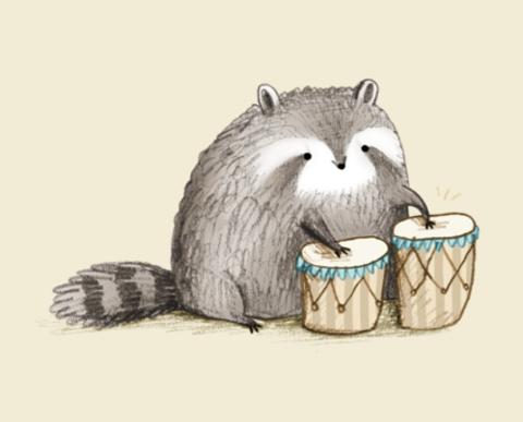 Sophie Corrigan - raccoon on bongos