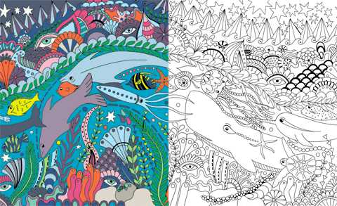 Becky Dinnage  Sealife Colouring in Original Draft