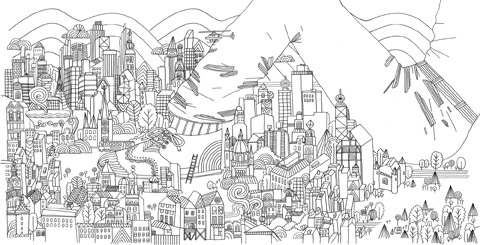 James Gulliver Hancock colouring book review landscape