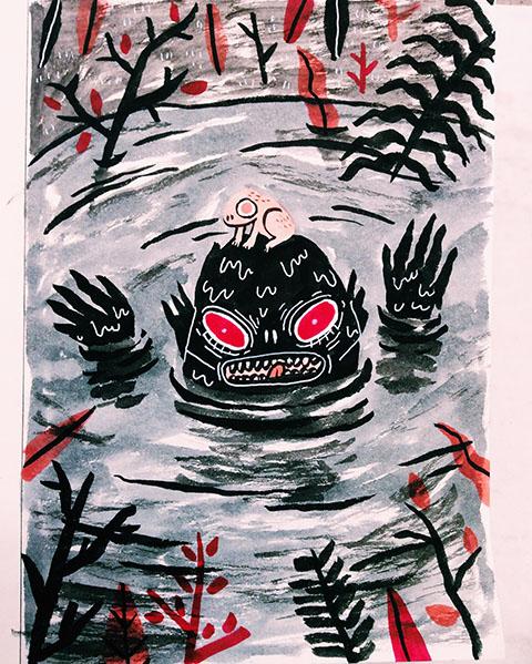 sonia-lazo-drawlloween-slimy-swamps-foggy-bogs