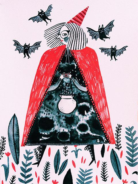 sonia-lazo-drawlloween-witchcraft-wednesday